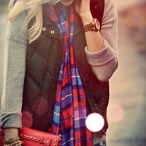 Sweater, puffer vest, scarf