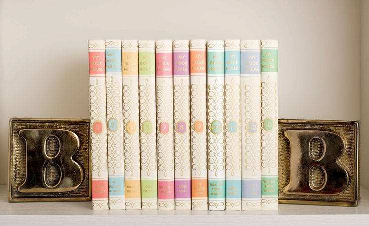 Set of Classic Children's Books in Pastels + Brass Bookends | $115 | 'B' is for My Book House | Finder Not Keeper