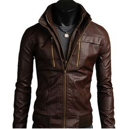Ms Men's Leather Jackets Style Casual Slim Fit Biker Leather Jacket Mens