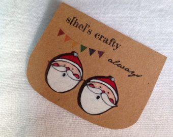 Santa Clause Stud Earrings, Shrink Plastic, Christmas, Winter