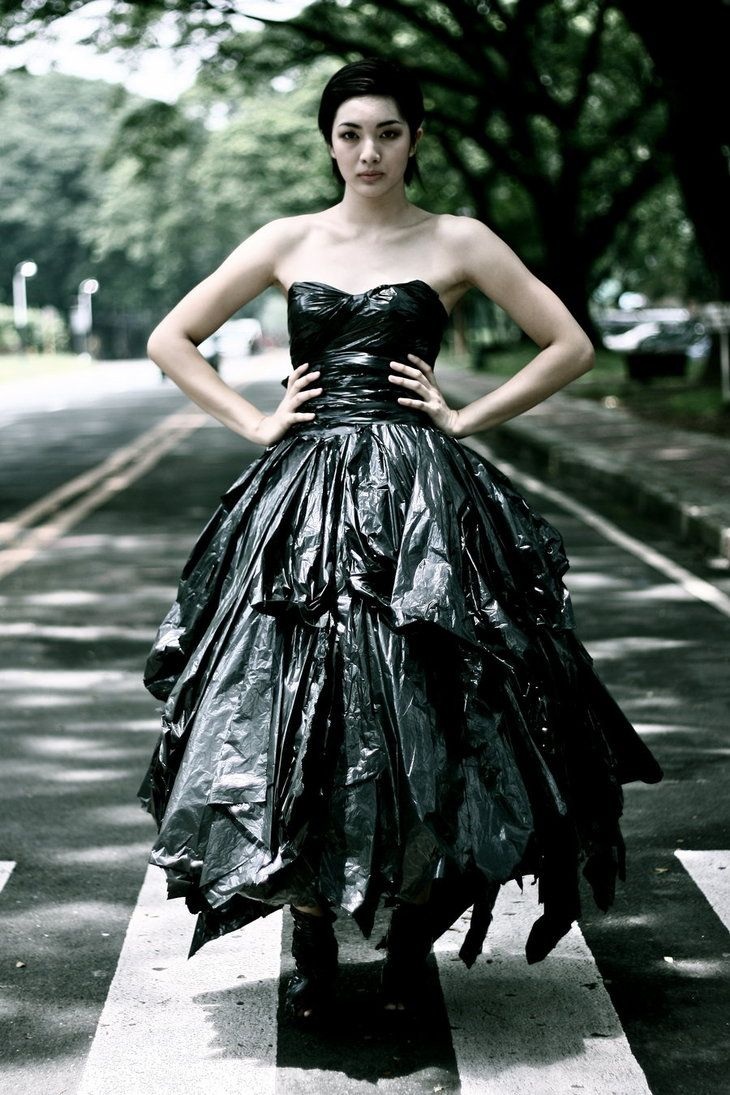 14 best images about trash bag dress and trash dresses on for Recycle wedding dress ideas