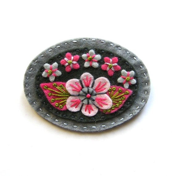 Beautiful floral felt pin with embroidered details