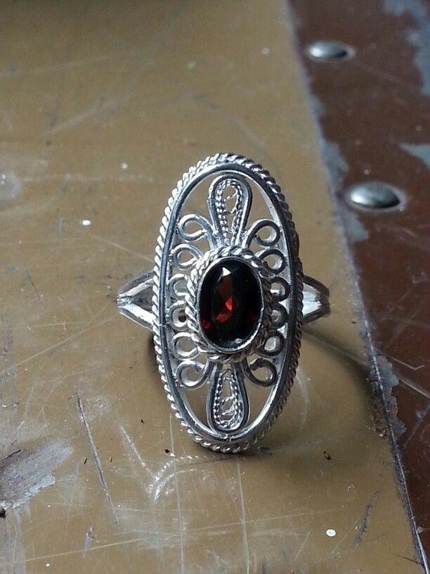Handmade sterling silver filigree ring