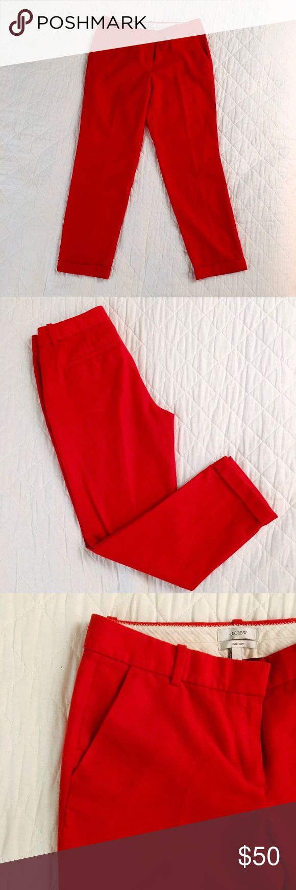 Bright red-orange J. Crew cafe Capri pants Bright red 100% wool cafe capri pants from J. Crew for all of you bold ladies out there 😉 the color is a bit orange ish and is perfect for spring and summer! Excellent condition, no flaws. Button and hook closure (see pic) and front and back pockets. The back pockets are still sealed. Inseam 27 in. Rise 9 in. Hips 18 in. Waist 14 in. lying flat. Fitted through hip and thigh, skinny leg, cuffed at bottom. Offers considered! J. Crew Pants Capris
