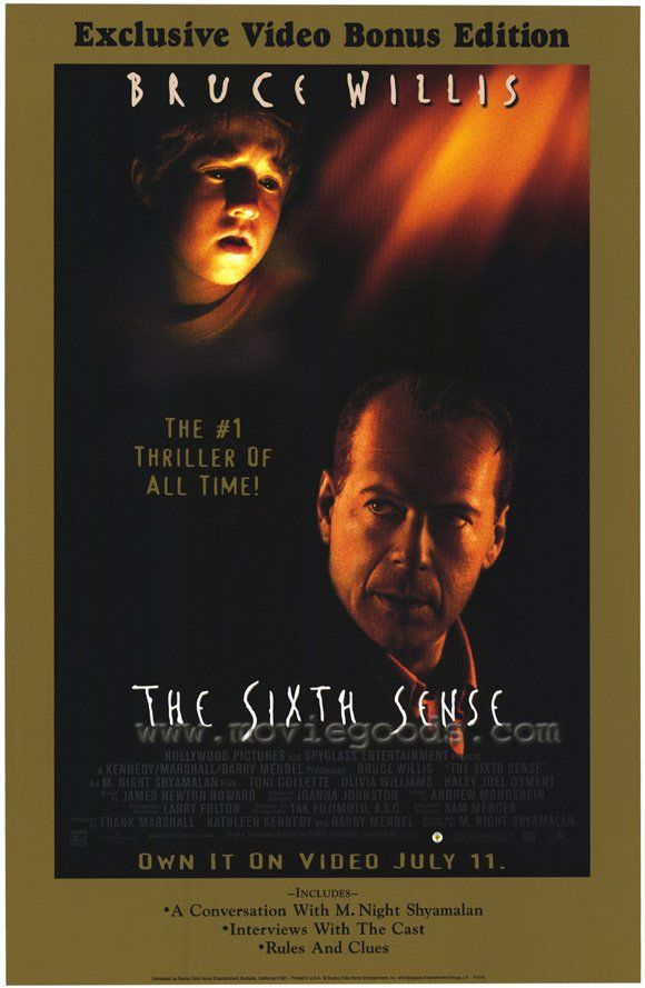 """""""The Sixth Sense"""" - My favorite M. Night Shyamalan movie. A boy who communicates with spirits that don't know they're dead seeks the help of a disheartened child psychologist. Bruce Willis, Haley Joel Osment and Toni Collette are INCREDIBLE. Image and info credit: IMDb."""