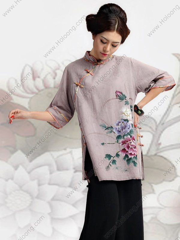 Women's Cotton Linen Gray Half-sleeve Hand-painted Peony Tang Cheongsam Blouse - USD $ 327.00