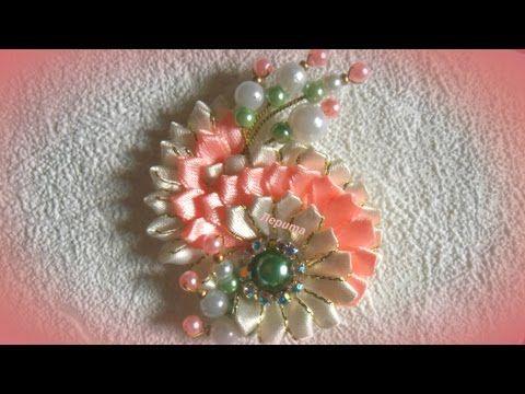 DIY Brooch satin ribbon/ Брошь из ленты 0,6 см /Канзаши/ МК/ DIY/ - YouTube