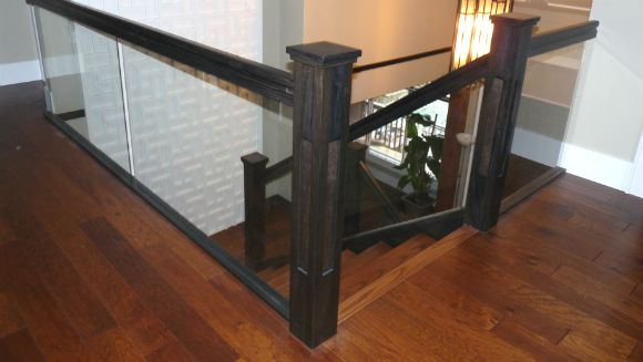Wood and glass stair railings in Vancouver