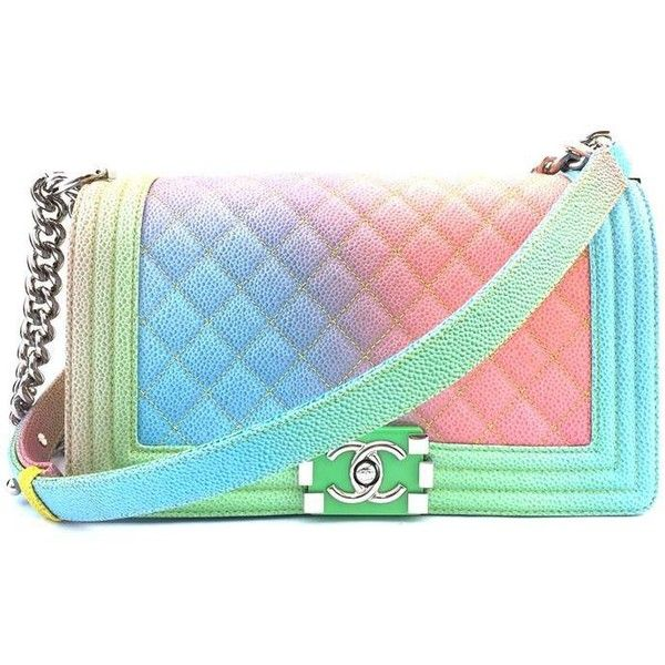 Chanel #15139 Ultra Rare Cc Le Boy Rainbow Double Chain Pastel Rainbow... ($5,550) ❤ liked on Polyvore featuring bags, handbags, shoulder bags, blue crossbody handbag, blue crossbody purse, crossbody handbag, blue cross body purse and cross body