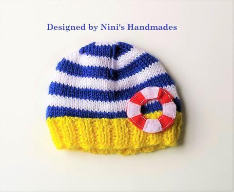 9554805cc40 Nautical Knit Gender Neutral Fun Life Saver Hat