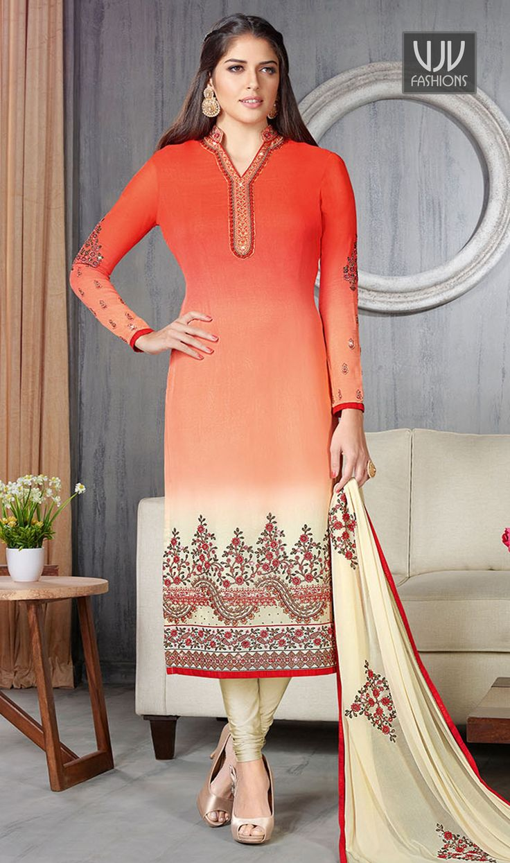 Nice Orange And Cream Georgette Churidar Designer Suit  Add a vibrant burst of color to your wardrobe with this orange and cream georgette churidar designer suit. The lovely embroidered and resham work a substantial feature of this attire