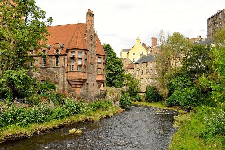 Dean Village, Scotland. This is an Edinburgh neighborhood.