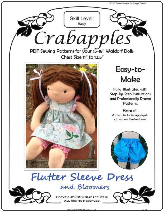 Size LARGE PDF Pattern for Waldorf Flutter Sleeve Dress - Instant Download