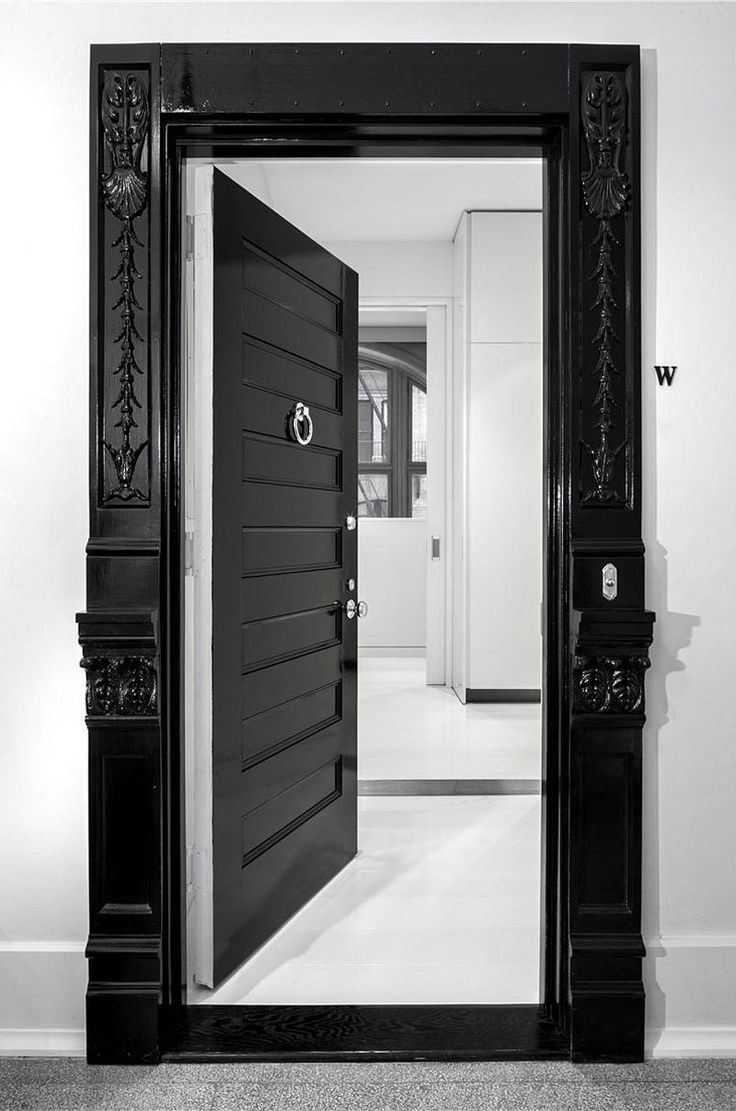 Ie closet doors and sometimes on an exterior door in conjunction with - History Meets Modern Luxury Entry Door Black And White Entrance