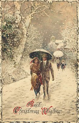 Love in the snow, vintage card