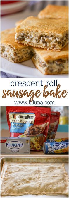 Crescent Roll Sausage Bake - only 3 ingredients!! It has a crispy crescent outer layer filled with your favorite sausage and cream cheese. It's the perfect breakfast recipe!