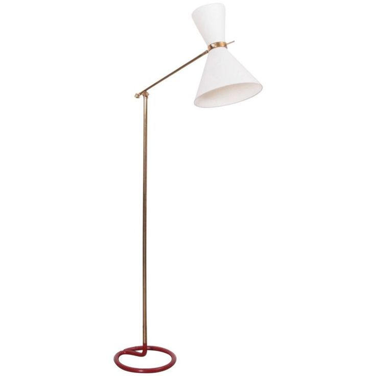 Rare Midcentury Diabolo Floor Lamp in Metal and Brass by Stablet, France, 1950s | From a unique collection of antique and modern floor lamps at https://www.1stdibs.com/furniture/lighting/floor-lamps/