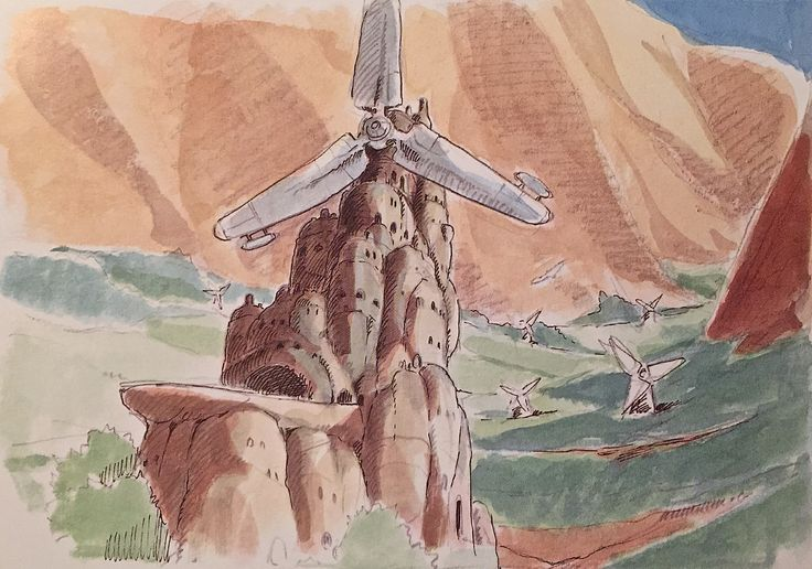 Images Drawn for the Nausicaa Motion Picture ===== Released March 1984 - image boards, tapestries drawn for the opening, etc ===== Notes: These are image boards for the Valley of the Wind. The windmills I'd wanted to use in the manga weren't the revolving windmills, but old windmills, like the ones in China, with cloth propped up on a vertical shaft == Views of the Valley of the Wind