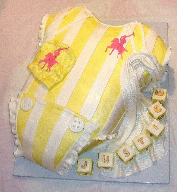 Baby Onesie Yellow White Polo Cake