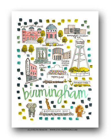 Birmingham Map Print by Evelyn Henson