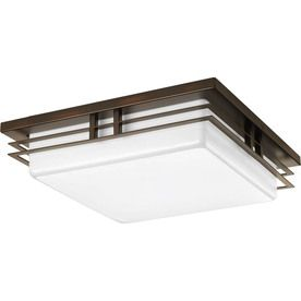 Progress Lighting Helm 14-In W Antique Bronze Led Ceiling Flush Mount