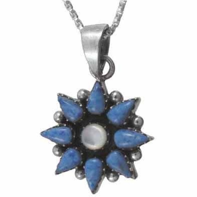Sterling Silver Flower Genuine Mother of Pearl and Denim Lapis pendant: Jewelry: Amazon.com