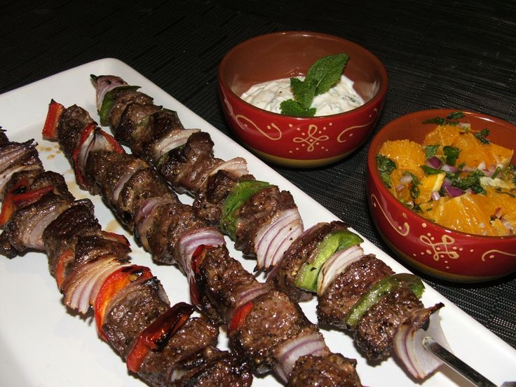 Lamb Kebabs using Spice Fusion Turkish Baharat, with Garlic & Mint and Orange & Mint Salad