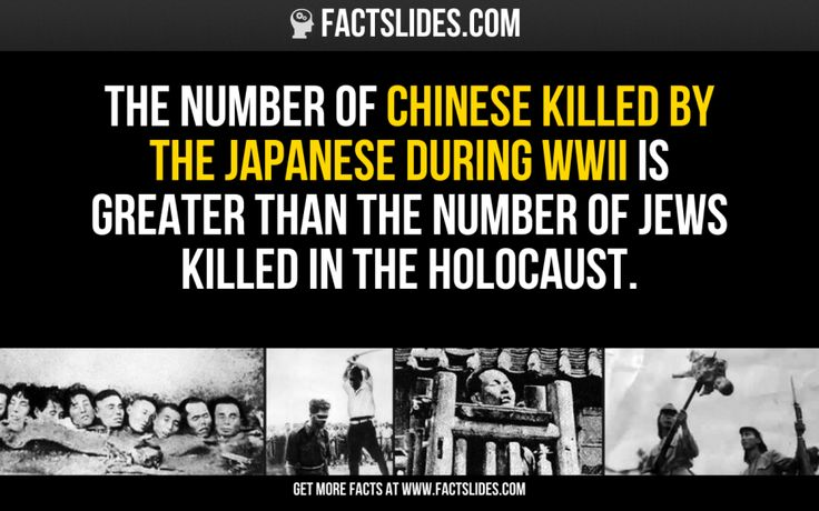 The number of Chinese killed by the Japanese during WWII is greater than the number of Jews killed in the Holocaust.