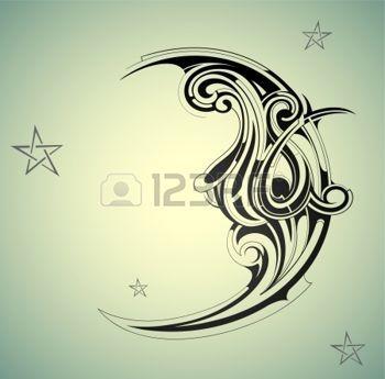 DESSIN étoile: Lune de style old-fashion avec ciel nocturne Illustration