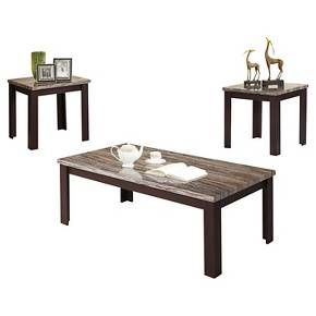 Simplify home decor with the Carly 3 Piece Pack Coffee End Table Set in Faux Marble and Cherry. This chic trio of accent tables will tie any living space together in one easy step. The variegated marble inspired tops blend well with a variety of styles, while the cherry finish on the legs adds warmth to any setting. Home decorating, solved.