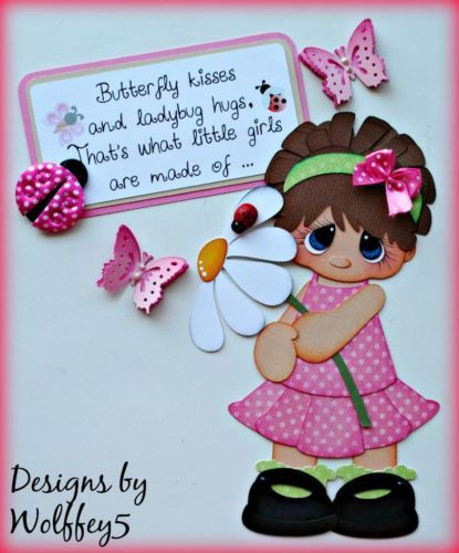 ELITE4U-GIRL-LADYBUG-BUTTERFLY-paper-piecing-premade-scrapbook-page-WOLFFEY5