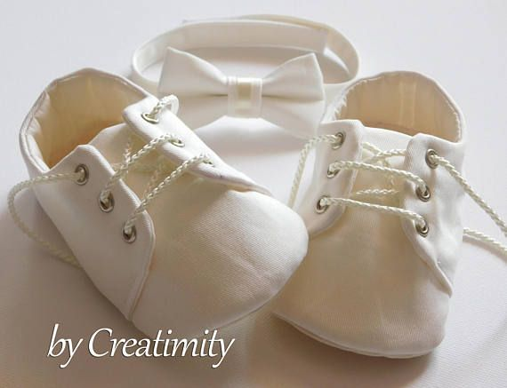 Ivory Baby Boy Shoes Baptism Shoes Soft Sole Shoes Crib Shoes