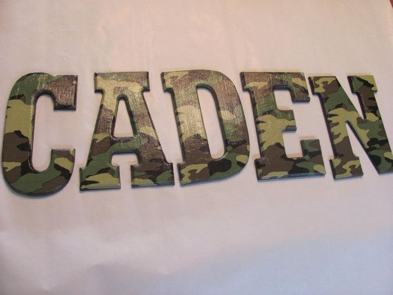 ARMY CAMO Wall Letters bedroom/playroom by lorisletters on Etsy, $7.50