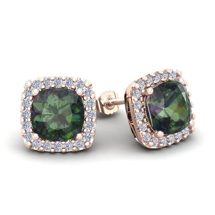 e09d50a760d17 4 Carat Cushion Cut Mystic Topaz and Halo Diamond Stud Earrings In ...