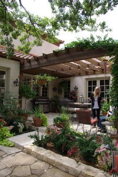 outdoor pergola stone patio