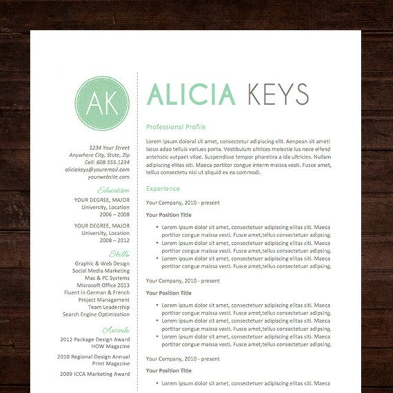 mint resume template professional package mac or pc for word creative modern teacher instant download the alicia - Free Creative Resume Templates For Mac
