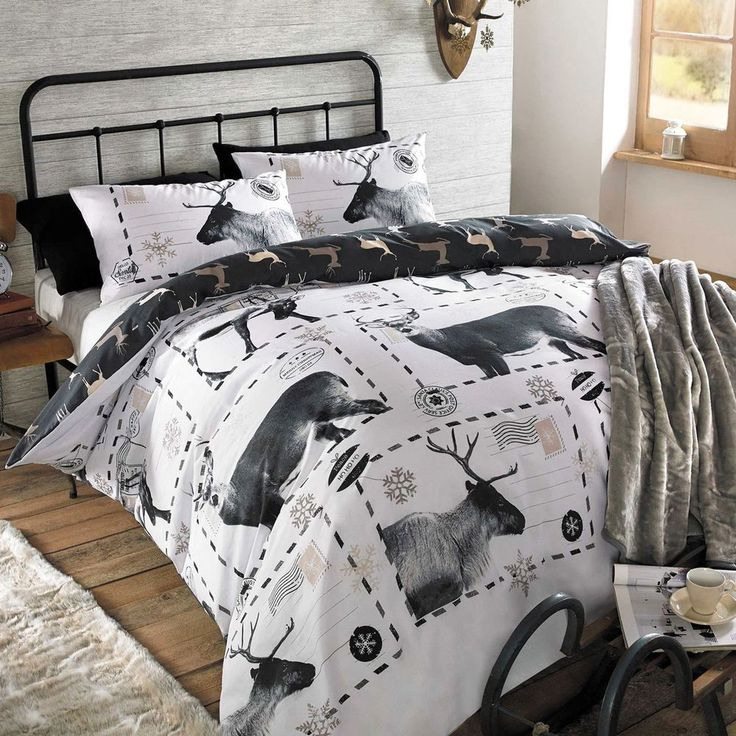 This Reindeer king size duvet cover set will add a festive finishing touch to any bedroom. The reverse has a repeat pattern of reindeer silhouettes in coordinating tones of bronze on a black background. | eBay!