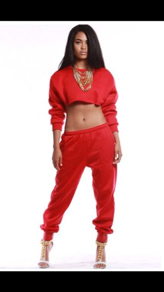 pants sorella boutique red joggers sweatsuit sporty style gold chains sweatpants chain heels guiseppe zanotti heels strappy heels red crop tops blackbarbie swag style heather sanders last kings dope shirt red lime sunday