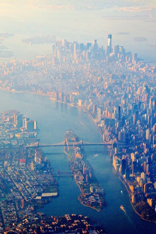 """New York from the Air (2012) (By Zohar Manor-Abel)  Birds view of Manhattan, Queens and Brooklyn."""