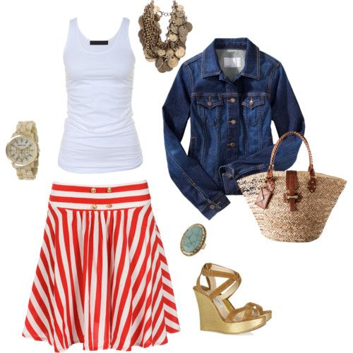 i am just in love with red and white stripes: Fashion, Jeans Jackets, Skirts, Style, Denim Jackets, Summer Outfits, Jean Jackets, Cute Outfit, Spring Outfit