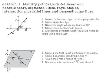 Geometry Foundations Station Review w/ Answer Key ...