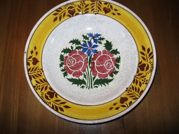 Antique hand painted Hungarian ceramic plate Hollohaza  from Transylvania . Available at www.greatblouses.com