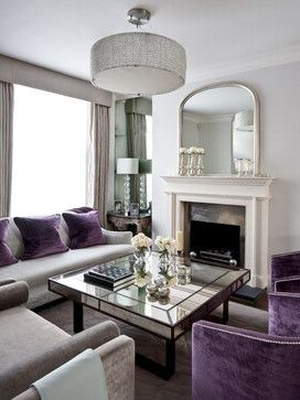 Love the muted greys and purple accents / sophisticated living room