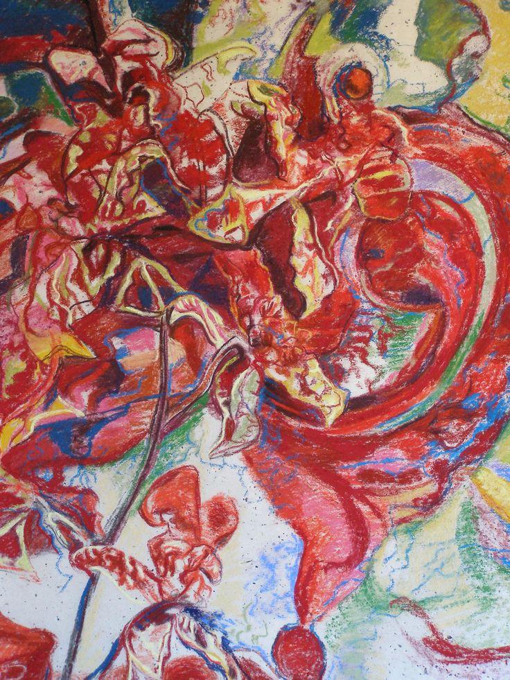 Orchid Abstraction, pastel on Japanese Kozo paper, by Sanneke Griepink, www.artstudiosanneke.com