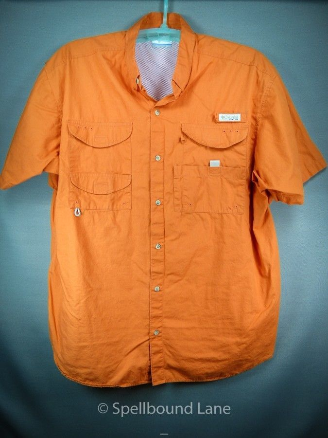 Columbia pfg mens shirt fishing outdoor vented orange xl for Baby fishing shirts columbia