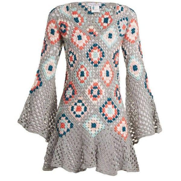 My Beachy Side Bisou V-neck crochet-knit cotton mini dress (725 CAD) ❤ liked on Polyvore featuring dresses, grey multi, long gray dress, short gray dress, long bell sleeve dress, long v neck dress and short beach dresses