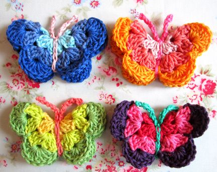 Colorful Butterflies ~ crochet tutorial  these look soooo cute sewn on a little girl's hat, etc.