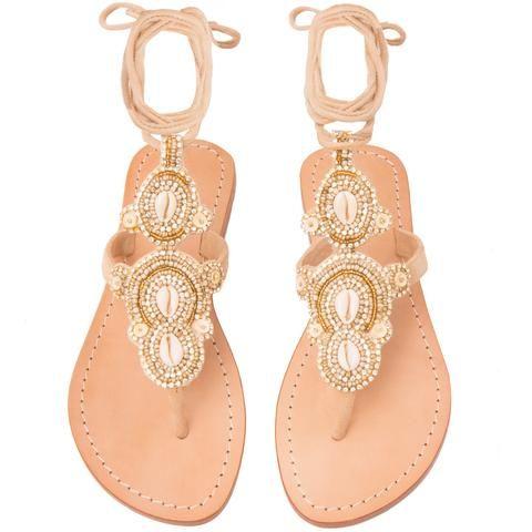 Laguna - Women's Leather Jeweled Sandals - Mystique Sandals