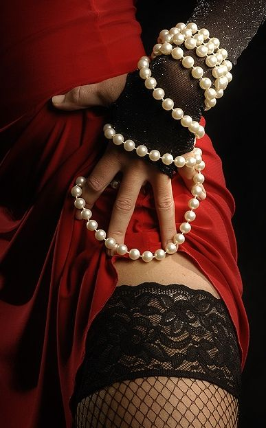 Image result for black lace and pearls