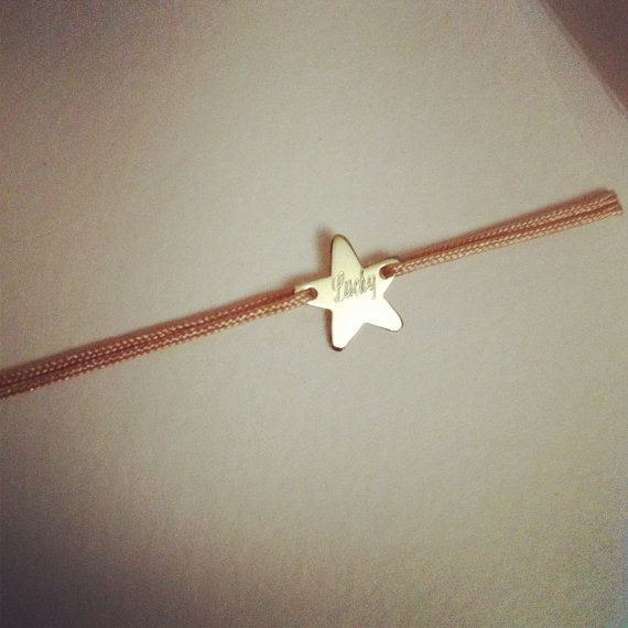 Personalized star 14K SOLID yellow gold star lucky by Ingriko